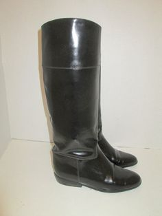 e6d4c0e8fb charles david riding boots | vintage CHARLES DAVID knee high flat black  leather riding boots Leather