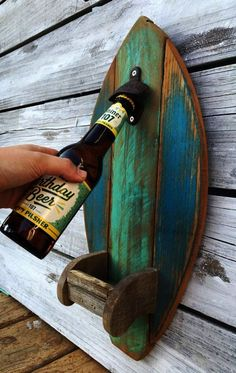 Surfboard Wood Bottle Opener with Fin Cap Catcher Rustic Reclaimed Wood Kitchen Tiki Bar Decor, Custom Color Options Surf Board Holz Flaschenöffner mit Fin Cap von EcoArtWoodDesign Reclaimed Wood Kitchen, Reclaimed Wood Projects, Diy Wood Projects, Wood Crafts, Outdoor Wood Projects, Sewing Projects, Diy Crafts, Into The Woods, Beach Cottage Style