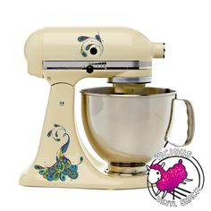 Fancy Peacock Swirl Kitchen Mixer Color Decal by ViciousVinyl