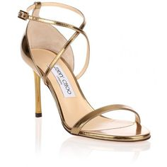 Jimmy Choo Hesper Mirror Leather Sandal ($725) ❤ liked on Polyvore featuring shoes, sandals, gold, jimmy choo shoes, ankle strap shoes, leather strap sandals, high heel shoes and metallic strappy sandals
