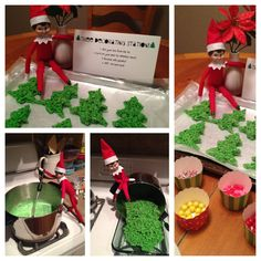 Elf on the Shelf- Rice Krispie Christmas tree decorating station! Recipe: 4 tbsp butter, 4 c mini marshmallows, 6 c rice krispie cereal, 1/2 tsp green gel food coloring. In a large pot, Melt butter over low heat, mix in marshmallows. When half melted, add food coloring and mix well. Add rice krispies a little at a time and stir until green. Spread out in a 9x12 pan. When cooled, cut with a tree cookie cutter. Fill cupcake papers with sprinkles and candy for decorating.