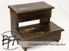 Xl Adult Size Step Stool Black Distressed Hardwood Wood Kitchen Pantry Closet…