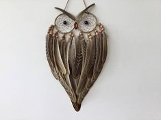 Owl Dreamcatcher owl dream catcher owl decor brown dream