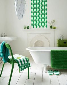 green highlights in a white bathroom