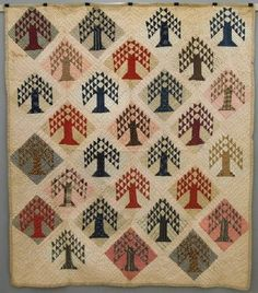 "C 1900 American Patchwork ""Pine Tree"" quilt, 75 x 86"" , Schmidt's Antiques, Inc., Live Auctioneers"