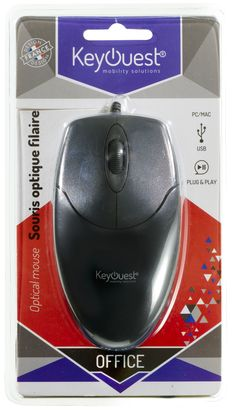 Packaging Souris filaire OFFICE - KeyOuest. http://www.keyouest-mobility.com/produits/souris-filaire-office-keyouest/