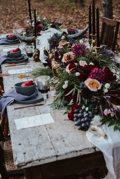 Gothic forest wedding tablescape