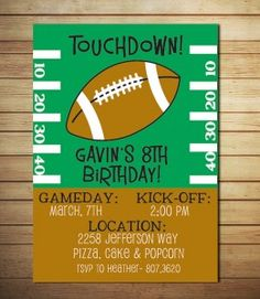 game day printable football birthday party invitations