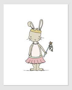 Girl Nursery Art - Princess Cottontail - Bunny Princess - Bunny Nursery Art