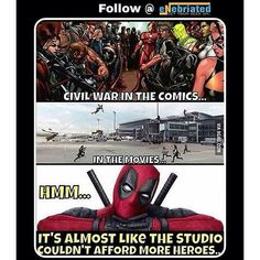 #Reposting one of my posts I used on another page... Comic.... Movie.... Broke aren't we?  Follow @eNebriated for more funny memes facts and geek content!  #captainamericacivilwar #civilwar #captainamerica #ironman #thor #falcon #warmachine #hawkeye #blackpanther #spiderman #deadpool #blackwidow #wintersoldier #agent13  #funny #meme #cacw #lol #lmao #lmfao #marvel #marvelcomics #mcu #marveluniverse
