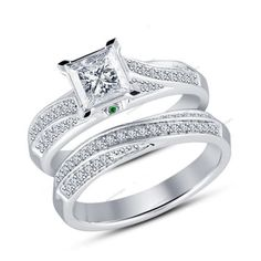 Princess &Round Sim.Diamond & Sapphire 925 Silver Solitaire W/Accents Bridal Set #aonedesigns