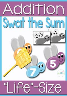 """Kids will have so much fun playing Swat the Sum at they use a fly swatter to hit the sums of their addition facts! There is even a """"Bug Off"""" repellent """"jar""""."""