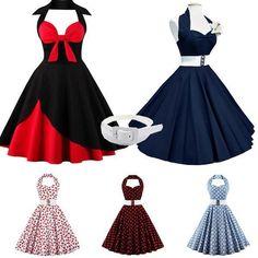 NEU Damen Vintage Polka Dots Abendkleid Tanzkleid Rockabilly Kleid GR.36-48
