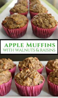 Healthy, delicious muffins with no sugar! Whole wheat flour, vanilla yogurt, maple syrup, apples, walnuts and raisins. Great breakfast on the go, mid-morning snack or after-school treat.