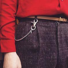 40s Red Gaberdine shirt and atomic fleck trouses worn by Scott Fraser Simpson.