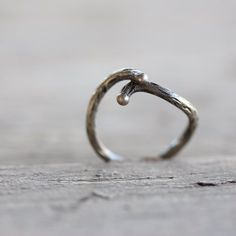 Rustic Branch Women's Wedding Ring Silver Primitive Woodland - Shadow Bark - 11 Main