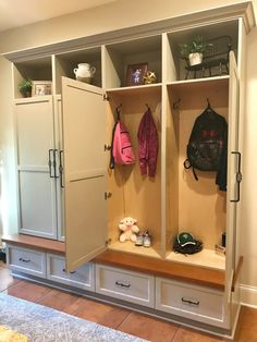 Home Remodeling Mudroom Mudroom Cabinet Reveal- check out this great design and get inspired for your mudroom makeover! Great locker style shelving has doors to hide your clutter! Mudroom Cabinets, Mudroom Laundry Room, Entryway Storage Cabinet, Closet Mudroom, Mudroom Cubbies, Front Closet, Garage Storage, Home Design, Entry Way Lockers