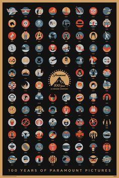 パラマウント映画100年の歩みをシンプルなアイコンで表現したアートポスター