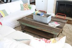 reclaimed wood coffee table {