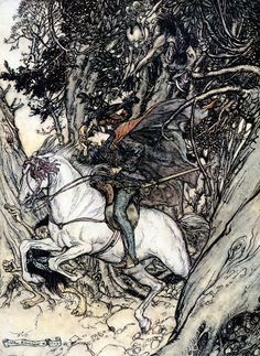 """Arthur Rackham 'He held up the gold piece, crying at each leap of his, """"False gold!  False coin!  False coin!""""' from Undine"""