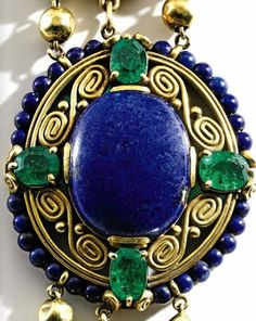 louis comfort tiffany. Gold, lapis lazuli, emerald and enamel necklace, Tiffany & Co.,