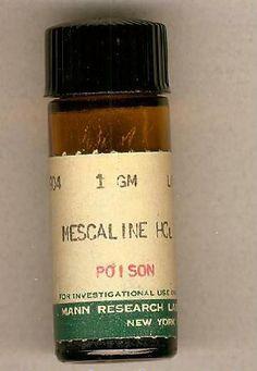 Antique Mescaline Bottle - The Psychedelic Experience Old Medicine Bottles, Old Bottles, Antique Bottles, Vintage Advertisements, Vintage Ads, Cannabis, Psychedelic Experience, Vintage Medical, Medical History