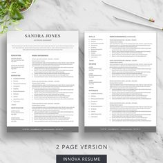 27 Best 2 Page Resume Templates Images In 2020 Resume Template