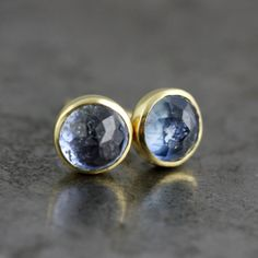 Blue Sapphire Earrings  Rose Cut Blue by SarahHoodJewelry on Etsy, $280.00