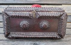Nice Antique Chip Carved Wooden Chest Tramp Folk Art Sewing Box German c.1890s #TrampArt