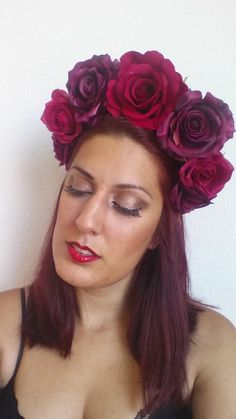 Red Rose Flower Crown Headpiece Fairytale by NebulaXcrafts on Etsy, $43.80
