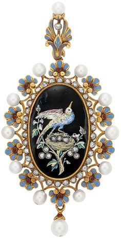 Antique Gold, Enamel, Pearl and Diamond Pendant, by Carlo Giuliano for Sale at Auction on Wed, - - Important Estate Jewelry Bird Jewelry, Enamel Jewelry, Jewelry Art, Victorian Jewelry, Antique Jewelry, Vintage Jewelry, Antique Necklace, Art Nouveau, Diamond Pendant