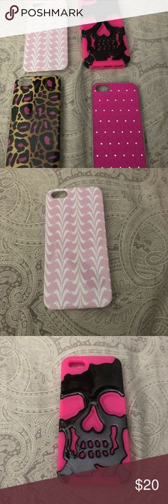 Bundle of four iPhone 5 Phone Cases Bundle of four iPhone 5 Phone Cases. Buy bundle and save or purchase individually. Message me if you want to break up the bundle. Pink & white chevron, pink and black skull,pink & rhinestone bling and pink & cheetah print. Barely used, like new condition. All super cute! $20 for all 4 or $6 each. iPhone 5 Accessories Phone Cases