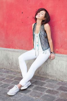 White jeans, white top, white converse, and a black chiffon beaded vest with added jewelry #wearthis