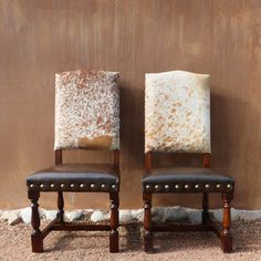 Hand Carved Frame in Cowhide back, Genuine Distressed Leather seat with individually Hand tacked Brass Nails. Rustic Dining Chairs, Balcony Table And Chairs, Leather Dining Chairs, Kitchen Chairs, Dining Room Chairs, Antique Chairs, Cowhide Furniture, Cowhide Chair, Western Furniture