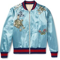 e4a862865 Gucci Appliquéd Silk-Satin Bomber Jacket ($7,500) ❤ liked on Polyvore  featuring men's fashion, men's clothing, men's outerwear, men's jackets and  gucci