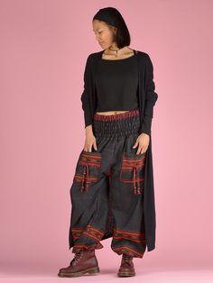 1b0d4becbf5 Black   Orange Warm Harem Pants - High Crotch