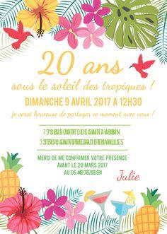 Carte invitation anniversaire tropical par crea-graphic