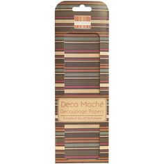 "Deco Mache Paper 10.25""X14.75"" 3/Pkg-Desert Bloom, Multi Stripe"
