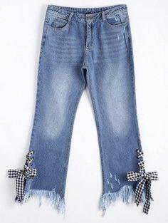 Zaful - Zaful Lace Up Cutoffs Ripped Bootcut Jeans - AdoreWe.com