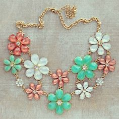 Mutil-Colored Pastel Flower Necklace; pink, blue, and white.