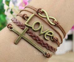 Infinity bracelet bracelet cross bracelet love by superbracelet, $4.99
