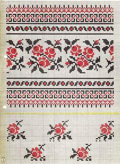 the tiny roses on the bodem! Cross Stitch Rose, Cross Stitch Borders, Cross Stitch Charts, Cross Stitch Designs, Cross Stitching, Cross Stitch Embroidery, Cross Stitch Patterns, Pillow Embroidery, Embroidery Patterns