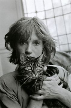 Édouard Boubat :: Isabelle Huppert with cat, Paris, 1983 / more [+] by this photographer