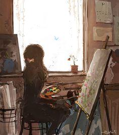 Girl painting in front of a window illustration art Art Antique, Illustration Art, Illustrations, Anime Scenery, Anime Art Girl, Aesthetic Art, Cartoon Art, Cute Drawings, Cute Art