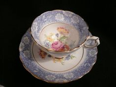 Antique china tea cup and saucer set, Rosina England tea set, Blue lace pink Roses tea cup vintage Romantic