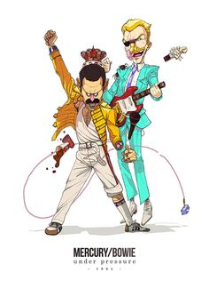Freddie Mercury and David Bowie by Pol & Sakiroo Choi