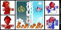 Revoluciones!! (Rusa y Francesa) - Lenin - Trotsky - Luis XVI - Robespierre - Ilustracion digital - Revista Caras & Caretas
