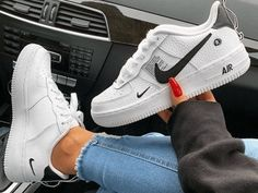 One of our favorite models! Get the new Nike Air Force One L . Black Nike Trainers, Black Nike Shoes, Nike Air Shoes, New Nike Shoes, Black Vans, Shoes Sport, Sports Shoes, Nike Fashion, Sneakers Fashion