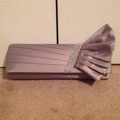 Elegant Gray Evening Bag NWOT Gray Satin Embellished Evening Bag w/Two Interchangeable Straps.....10 inches long...4 inches high and 2 1/2 inches wide Bags
