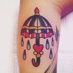 Traditional umbrella tattoo | by Kris Maron | at Up In Arms Tattoo (Moon Twp, PA)